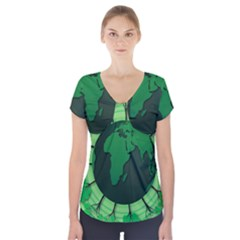 Earth Forest Forestry Lush Green Short Sleeve Front Detail Top