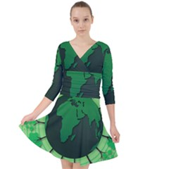 Earth Forest Forestry Lush Green Quarter Sleeve Front Wrap Dress