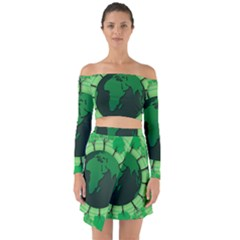 Earth Forest Forestry Lush Green Off Shoulder Top With Skirt Set by BangZart