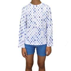 Star Curved Background Blue Kids  Long Sleeve Swimwear