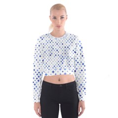 Star Curved Background Blue Cropped Sweatshirt