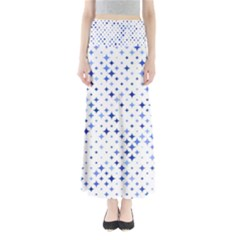 Star Curved Background Blue Full Length Maxi Skirt