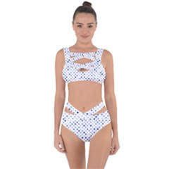 Star Curved Background Blue Bandaged Up Bikini Set