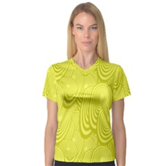 Yellow Oval Ellipse Egg Elliptical V Neck Sport Mesh Tee