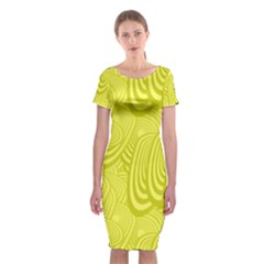 Yellow Oval Ellipse Egg Elliptical Classic Short Sleeve Midi Dress