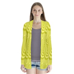 Yellow Oval Ellipse Egg Elliptical Drape Collar Cardigan