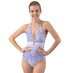 Star Curved Background Geometric Halter Cut Out One Piece Swimsuit