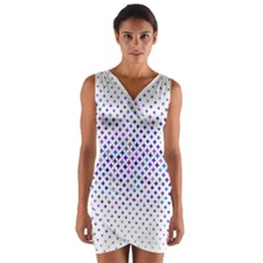 Star Curved Background Geometric Wrap Front Bodycon Dress