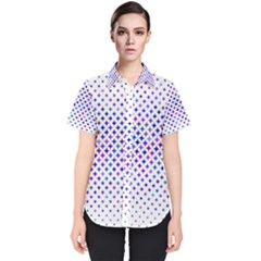 Star Curved Background Geometric Women s Short Sleeve Shirt