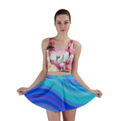 Blue Background Water Design Wave Mini Skirt