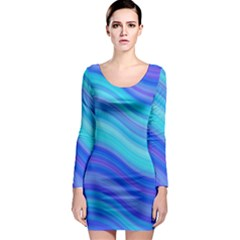 Blue Background Water Design Wave Long Sleeve Bodycon Dress