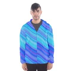 Blue Background Water Design Wave Hooded Wind Breaker (men)