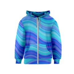 Blue Background Water Design Wave Kids  Zipper Hoodie
