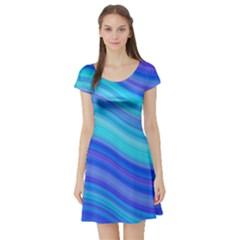 Blue Background Water Design Wave Short Sleeve Skater Dress