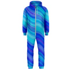 Blue Background Water Design Wave Hooded Jumpsuit (men)