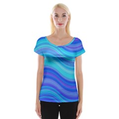 Blue Background Water Design Wave Cap Sleeve Tops