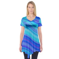 Blue Background Water Design Wave Short Sleeve Tunic