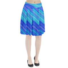Blue Background Water Design Wave Pleated Skirt
