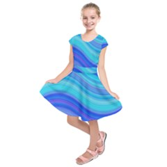 Blue Background Water Design Wave Kids  Short Sleeve Dress