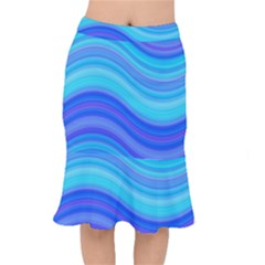 Blue Background Water Design Wave Mermaid Skirt