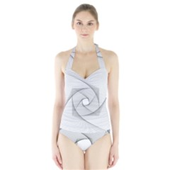 Rotation Rotated Spiral Swirl Halter Swimsuit
