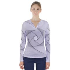 Rotation Rotated Spiral Swirl V Neck Long Sleeve Top