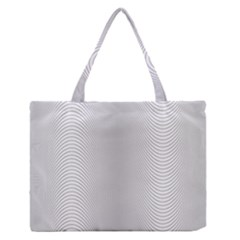 Monochrome Curve Line Pattern Wave Zipper Medium Tote Bag