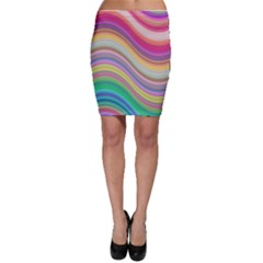 Wave Background Happy Design Bodycon Skirt