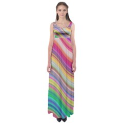 Wave Background Happy Design Empire Waist Maxi Dress
