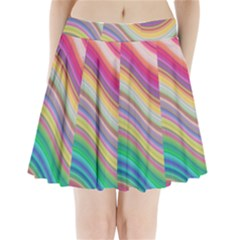 Wave Background Happy Design Pleated Mini Skirt