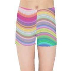 Wave Background Happy Design Kids Sports Shorts