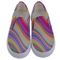 Wave Background Happy Design Kids  Canvas Slip Ons