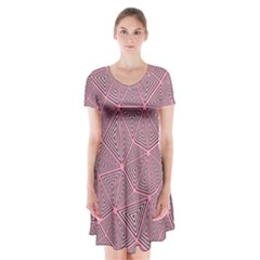 Triangle Background Abstract Short Sleeve V Neck Flare Dress
