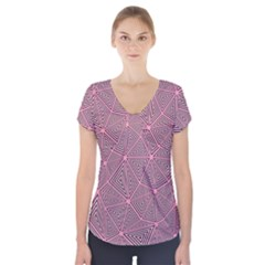 Triangle Background Abstract Short Sleeve Front Detail Top