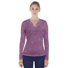 Triangle Background Abstract V Neck Long Sleeve Top