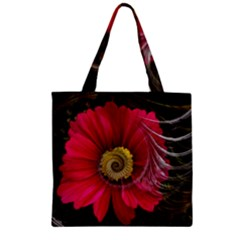 Fantasy Flower Fractal Blossom Zipper Grocery Tote Bag by BangZart