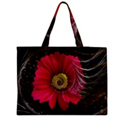 Fantasy Flower Fractal Blossom Zipper Medium Tote Bag