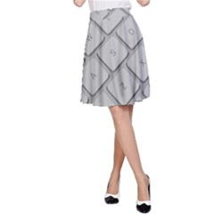 Keyboard Letters Key Print White A Line Skirt