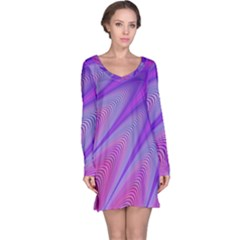 Purple Star Sun Sunshine Fractal Long Sleeve Nightdress