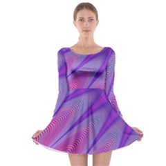 Purple Star Sun Sunshine Fractal Long Sleeve Skater Dress