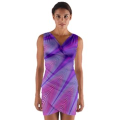 Purple Star Sun Sunshine Fractal Wrap Front Bodycon Dress