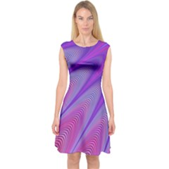 Purple Star Sun Sunshine Fractal Capsleeve Midi Dress