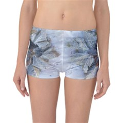 Winter Frost Ice Sheet Leaves Reversible Boyleg Bikini Bottoms