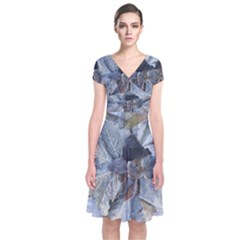 Winter Frost Ice Sheet Leaves Short Sleeve Front Wrap Dress