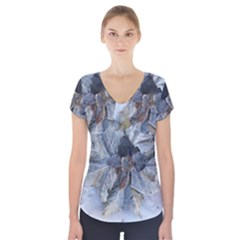 Winter Frost Ice Sheet Leaves Short Sleeve Front Detail Top