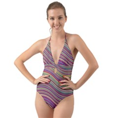 Wave Abstract Happy Background Halter Cut Out One Piece Swimsuit