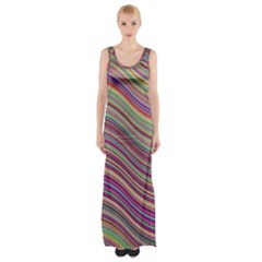 Wave Abstract Happy Background Maxi Thigh Split Dress