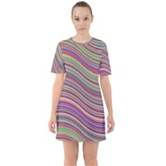 Wave Abstract Happy Background Sixties Short Sleeve Mini Dress