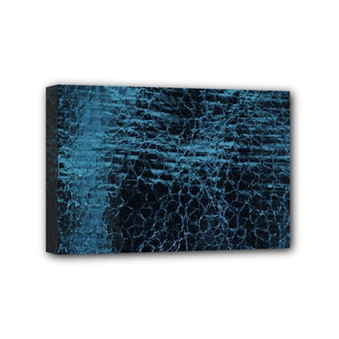 Blue Black Shiny Fabric Pattern Mini Canvas 6  X 4