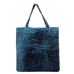 Blue Black Shiny Fabric Pattern Grocery Tote Bag